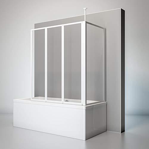 Schulte D1603-B 04 50 Duschwand Well mit Seitenwand, 129 x 140 x 75 cm, 3-teilig faltbar, 3 mm Sicherheitsglas Klar hell, alpinweiß, Duschabtrennung mit Handtuchhalter