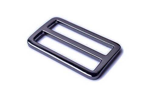Bobeey 5pcs 2'' Black Gun Flat Metal Adjuster Sliders,Belt Sliders,Buckle Triglide for Strap Keeper Leathercraft Bag Belt Adjuster Sliders BBC9 (2 Inch, Black Gun)