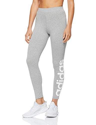 adidas Damen Commercial Linear Tights, Medium Grey Heather/White, XS