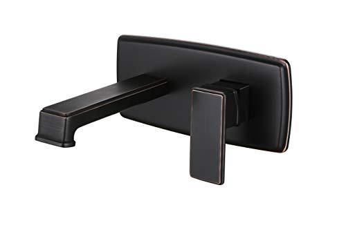 Grifo monomando para lavabo de baño de bronce aceitado con un solo agujero montado en la pared de latón macizo, con válvula incluida
