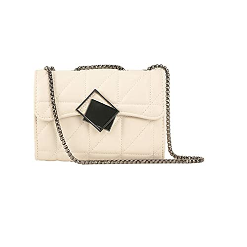 YXLYLL Bolsos de hombro y bandolera pequeños Ted para mujer - Bolso de mano de piel a cuadros con correa de cadena de metal, color blanco