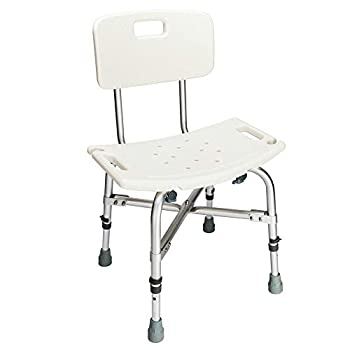 OMECAL 450LBS Medical Shower Chair Bath Seat Stool,Upgraded Safety Heavy Duty Framework Transfer Bench SPA Bathtub Chair No-Slip Adjustable 6 Height with Back
