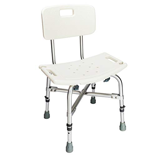 Mefeir 450LBS Medical Shower Chair Bath Seat Stool,Upgraded Safety Heavy Duty Framework Transfer Bench SPA Bathtub Chair, FDA Approved No-Slip Adjustable 6 Height with Back