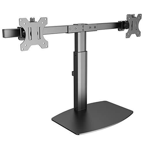 RICOO Dual PC Monitor-Halterung 2 Monitore Neigbar (TS4111) Tisch-Ständer Universal für 17-27 Zoll (bis 6-Kg je Bildschirm-Arm, VESA 100x100) Gasdruck Stand-Fuss Höhenverstellbar