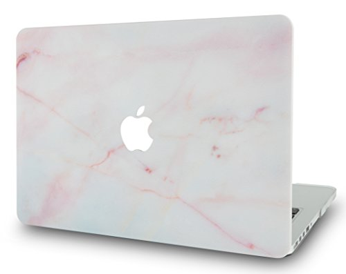 LuvCaseLaptopCaseforMacBookAir 13 Inch A1466 / A1369 (No Touch ID)RubberizedPlasticHardShellCover (Pink Marble)