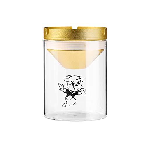 CAOLATOR Mini Cristal Vaso Cenicero Cilíndrico Creativo Personalidad Cenicero Hogar Oficina Café Mesa Candelero Ornamento - Dorado