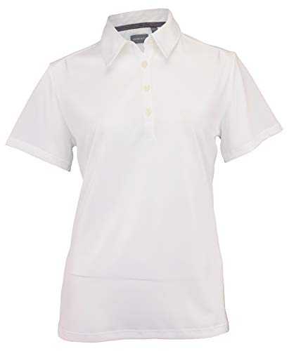 Ashworth Women's Performance EZ-SOF Solid Golf Polo (White, Large)