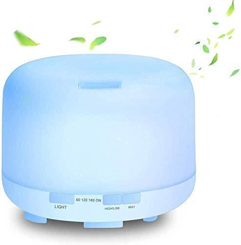 Deals - Humidificador para la casa de 500 ml (7 LED de colores variables, 2 modos de niebla, 4 ajustes de temporizador, apagado y difusor ultrasónico, aceites esenciales para oficina, yoga)