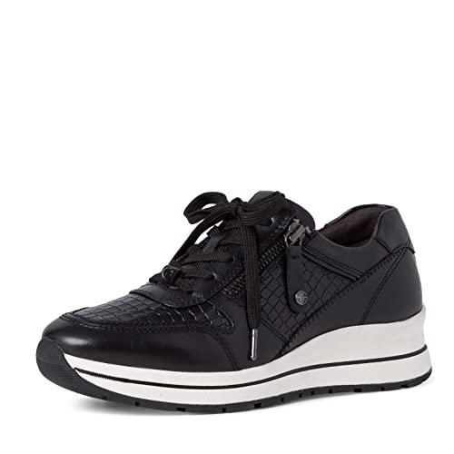Tamaris Damen Sneaker, Frauen Low-Top Sneaker,Comfort Lining,schnürschuhe,schnürer,keil,Sneaker,Wedge,Keilabsatz,Heel,Black/Croco,36 EU / 3.5 UK