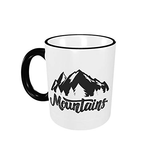 The Mountains Are Calling Coffee Mug Ceramic Cup with Handle for Home Office Women Men Tea Cappuccino Birthday Gift 12 Oz