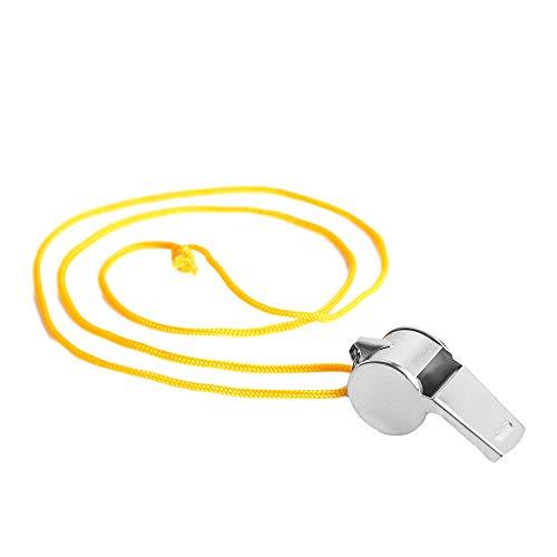 Generic Brands Sifflet de coach en acier inoxydable avec corde pour sports scolaires, basket-ball et protection de sauveteur, Jaune - 6 pièces