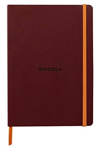 Rhodia 117436C – Cuaderno flexible de línea de vino A5, 14,8 x 21 cm, puntiagudos, 160 páginas, papel Clairefontaine marfil 90 g/m2, cierre elástico, cobertura de piel sintética – rodiarama
