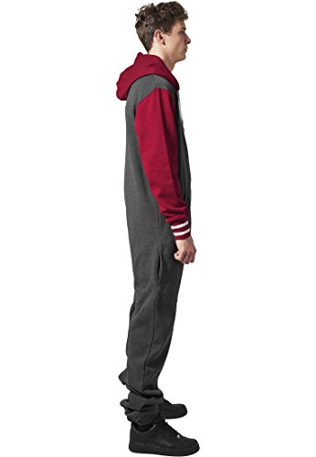 Urban Classics Herren College Sweat Jumpsuit Regular Fit, Farbe charcoal/ruby - 5