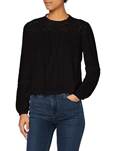 Superdry Detroit Lace Ls Top Chemise Tunique, Vrai Noir, M (Taille Fabricant:12) Femme