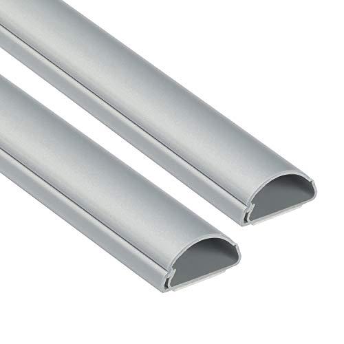 D-Line 1D3015A-2PK Mini Kabelkanal zur Kabelführung | Kabelleiste - 2 x 30x15 mm, 1 m Länge (2-meter) - Aluminium-Effekt