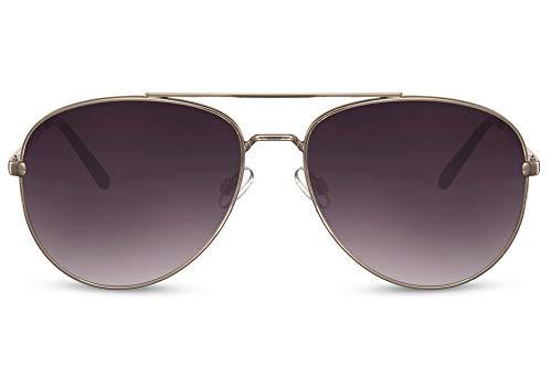 Cheapass Sunglasses Gafas de sol grandes de Piloto de Metálicas dorado con lentes oscuros para hombres y mujeres con protección UV400