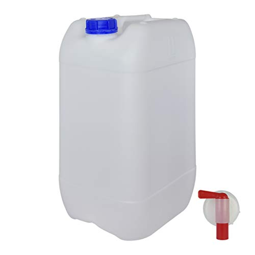 Bidón Garrafa con Grifo 25 litros. Apta para uso alimentario. Homologación para transporte. (1 Unidad)