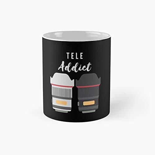 Tele Addict - Taza clásica para amantes de la lente de teleobjetivo, el mejor regalo, tazas de café divertidas, 11 onzas