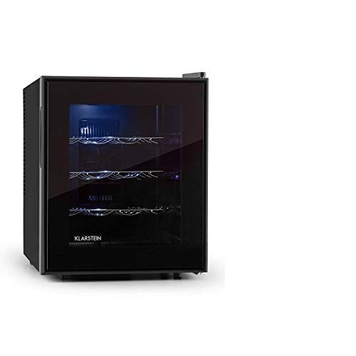Klarstein Barolo Weinkühlschrank Getränkekühlschrank (48 Liter, 16 Flaschen, doppelt isoliert, 3 Einschübe, freistehend, leise, 11-18°C, 70 Watt, höhenverstellbar) schwarz
