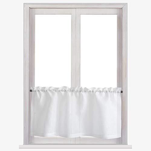 Varvara Home Leinen Scheibengardine durchsichtig - Bistrogardine aus Leinen - Küchegardine - Kurze Gardine für Küche (Weiß, 145 (B) x 35 (H) cm)