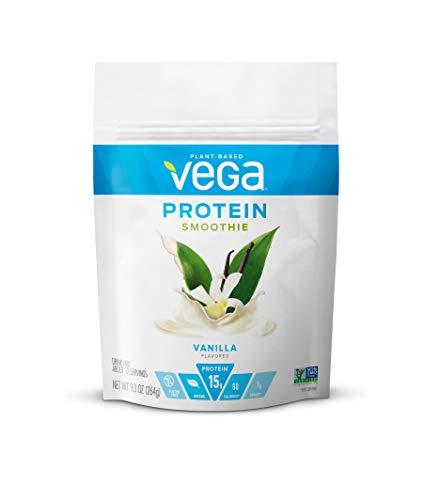 Vega Protein Smoothie, Vanilla, 12 Servings, 9.3 oz Pouch, Plant Based Vegan Protein Powder, Keto-Friendly, Gluten Free, Non Dairy, Vegan, Non Soy, Stevia Free, Non GMO (Packaging May Vary)