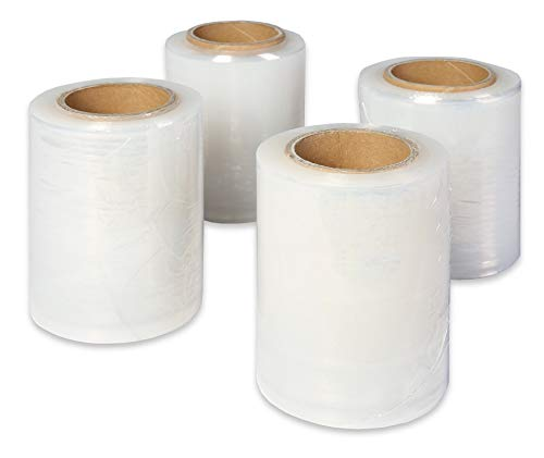 20 rollos de film estirable Mini Stretch 5cm/8cm/10cm/12.5cm/17cm/25cm/23mμ TRANSPARENTE para palets Envoltura de película para una protección óptima del producto, FABRICANTE (25cm)