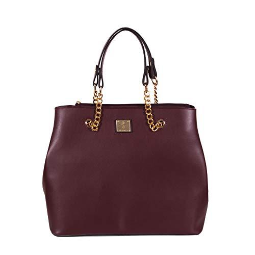 Gio&Mi - Bolso de mano para mujer con mucho espacio, tamaño A4, color rojo vino