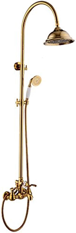 Gyps Faucet Waschtisch-Einhebelmischer Waschtischarmatur BadarmaturAntike Dusche Wasserhahn Kit Gold-Kupfer an der Wand montierte Groe Duschkpfe und Handdusche,Mischbatterie Waschbecken
