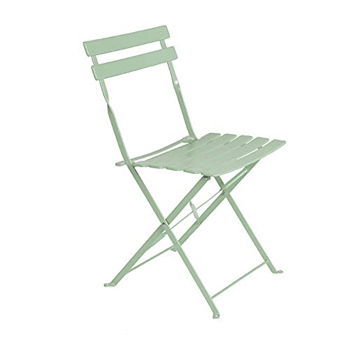 Set de 2 sillas de jardín Plegables Sira con láminas Curvas de Acero Verde Salvia de 80x46x41 cm - LOLAhome