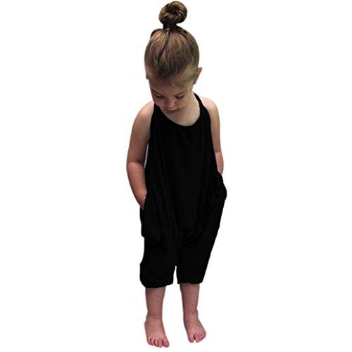 Combinaison de Fille - Bébé Filles Été Sangles Barboteuses Combi-Short Romper Combinaison Harem Pantalon Vêtements Tenues pour Age 1-6 Ans Ba Zha Hei (130/5A, Noir)