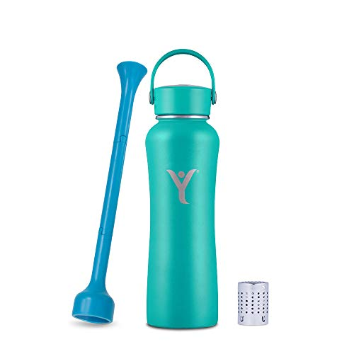 DYLN 21 oz Alkaline Water Bottle | Creates Premium Water up to 9+ pH | Keeps Cold for 24 Hours | Vacuum Insulated 316 Stainless Steel | Standard Mouth Cap | Aqua Teal, 21 oz (620 mL)