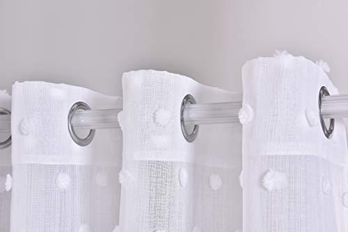 PimpamTex – Cortina Translúcida para Salón, Dormitorio y Habitación, Visillos Modernos y Originales con Diferentes Diseños, 1 Unidad, Cortinas con Ojales - (140 x 280 cm, Pompom Blanco)