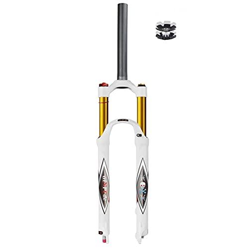 aiNPCde 26 27.5 29 Pulgadas Bicicleta Aire Horquilla Delantera MTB Blanco, Ultraligero Ajuste de Rebote FO01-RK21 Tubo Recto/Cónico Bicicleta de Montaña Horquilla Suspensión Viaje 140mm