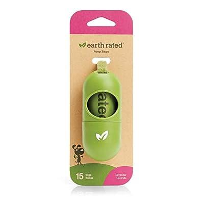 Earth Rated Dog Poop Bags Dispenser, Dog Poop Bag Holder Includes 1 Roll of 15 Lavender-scented Poop Bags