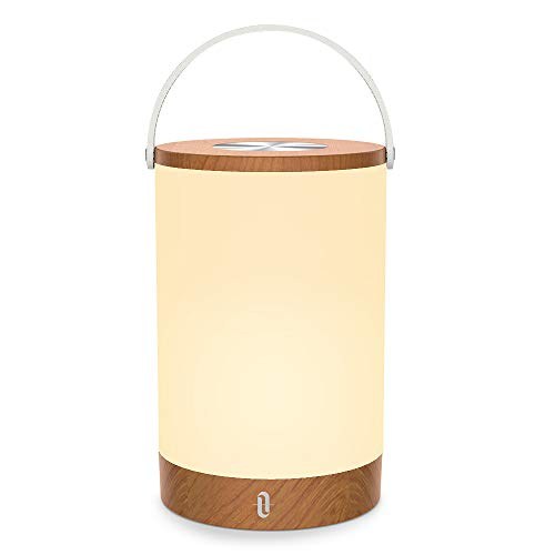 Tischlampe LED TaoTronics Vintage Nachttischlampe mit RGB Farbwechsel 256 Farbe, Touch-Bedienung, 4000mAh Akku, Merkfunktion (Mehrfarbig, Stufenlos Dimmbar, Tragbar, 110 Stunden Betrieb, Holzoptik)