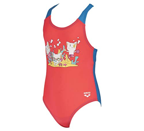 ARENA Friends Kids Girl One Piece, Bebé-Niñas, Fluo Red/Turquoise, 1-2