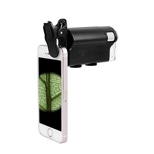60-100X Telephoto Lens + 180° Cell Phone Microscope LED UV Light Jewelry Loupe Magnifier Loop Jeweler Eyeglass Microscope Smartphones Iphone Samsung And Tablets Portable Clip-On Micro Lens