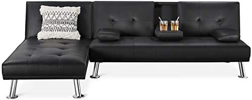 YAHEETECH Living Room Sets Sectional Sofa Faux Leather 2 Pieces Living Room Futon Bed Sectional product image