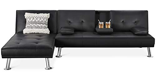YAHEETECH Living Room Sets Sectional Sofa Faux Leather 2 Pieces Living Room Futon Bed Sectional Furniture Set Modern Futon Couch Sets for Living Room Futon Bed w/Chaise Lounge Black