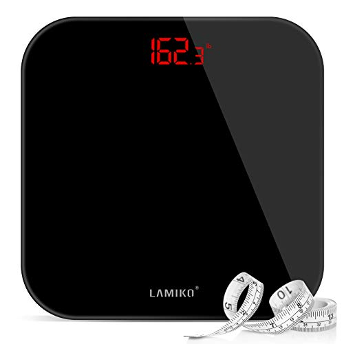LAMIKO Digital Body Weight Scale with Step-on Technology & LED Display Ultra Slim Round Corner Design for Bathroom/Gym/Yoga Studio, 396 lbs, Battery Operation, All Black