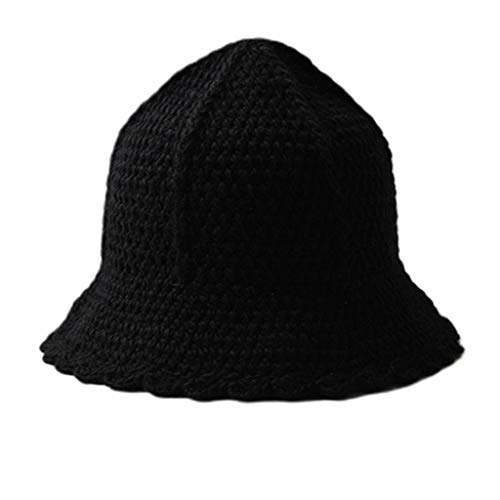 Sombrero de Cubo mdhsh 1 Pieza Gorras de Cubo de Ganchillo Grueso Hecho a Mano para Mujer Sombrero de Pescador de Punto con Borde Ondulado Trenzado Negro