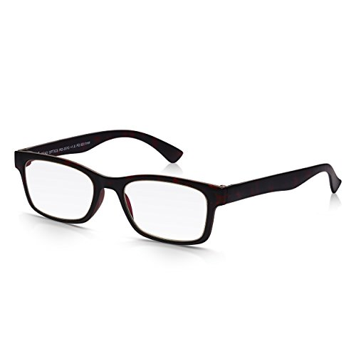 Read Optics Schildpatt Lesebrille: Bruchsichere Sehhilfe für Herren und Damen in Stärke +2,5 Dioptrien. Vintage Brille italienischen Stil mit robustem, leichtem Tortoise Vollrand und Qualitäts-Gläsern