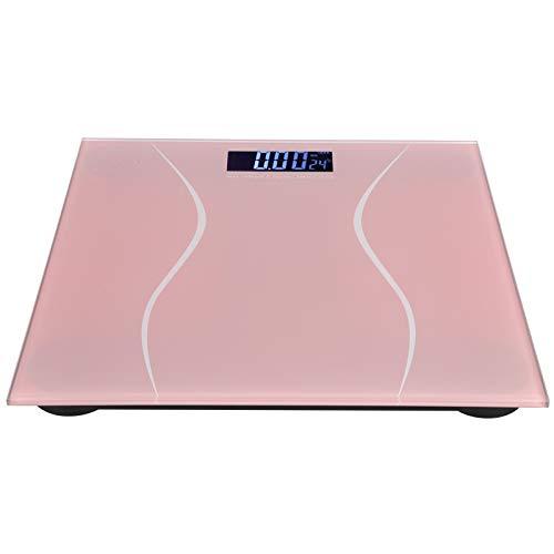 Balança de fitness, escala de peso de reinicialização automática durável, display LCD retroiluminado de alta definição de tamanho pequeno, para escala de peso residencial(Pink)