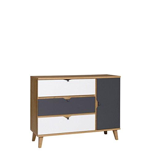 Mirjan24 Kommode Memone TM09 mit 3 Schubladen und Tür Sideboard Mehrzweckschrank Schubladenkommode für Jugendzimmer Highboard Schrank (Eiche Gold/Graphit)