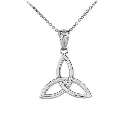 Certified 10k White Gold Solitaire Diamond Celtic Trinity Knot Charm Pendant Necklace, 20'