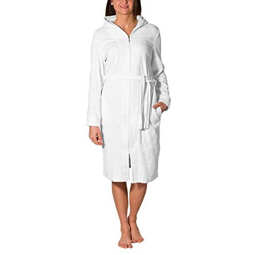 Aquarti Damen Bademantel mit Reißverschluss Lang, Farbe: Weiß, Größe: 2XL