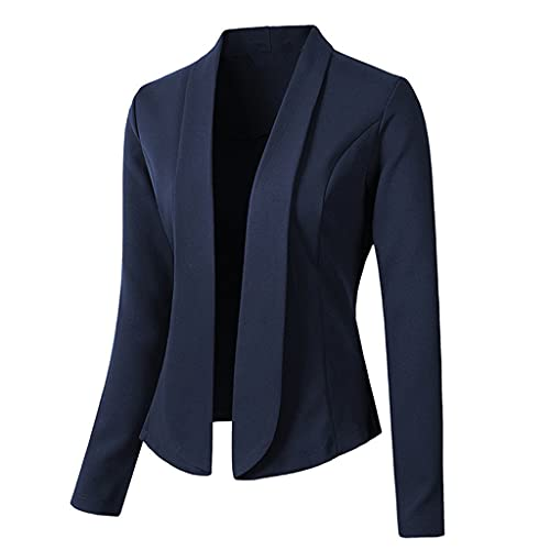 ZDBBY Mujeres Blazer Abrigos Sólido Casual Trajes de manga larga Turn Down Collar Slim Office Lady Business Suit Chaquetas (Color : Blue, Size : L code)
