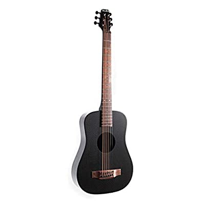 Deluxe KLOS Black Carbon Fiber Travel Acoustic Electric Guitar Kit with Gig Bag, Strap, Capo, and more
