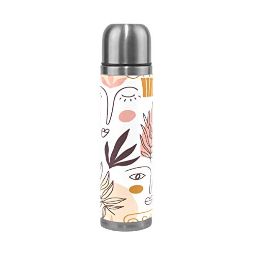 ATONO Big Colorful Shapes Leaves Faces Greece Elements Thermoses Vacuum Kettle Water Beverage Bottle Travel Mug Stainless Steel Leak-Proof Locking Lid Coffee Tea Drink Cup for Office Camping