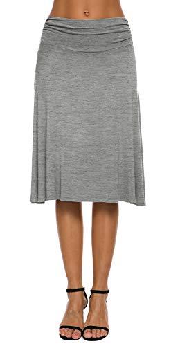 EXCHIC Falda de Yoga para Mujer con Mini Llamarada (L, Gris Claro)
